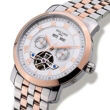 Lujo HOLUNS hombres reloj Tourbillon impermeable día fecha Mecánico Automático de acero inoxidable reloj de pulsera relogio masculino