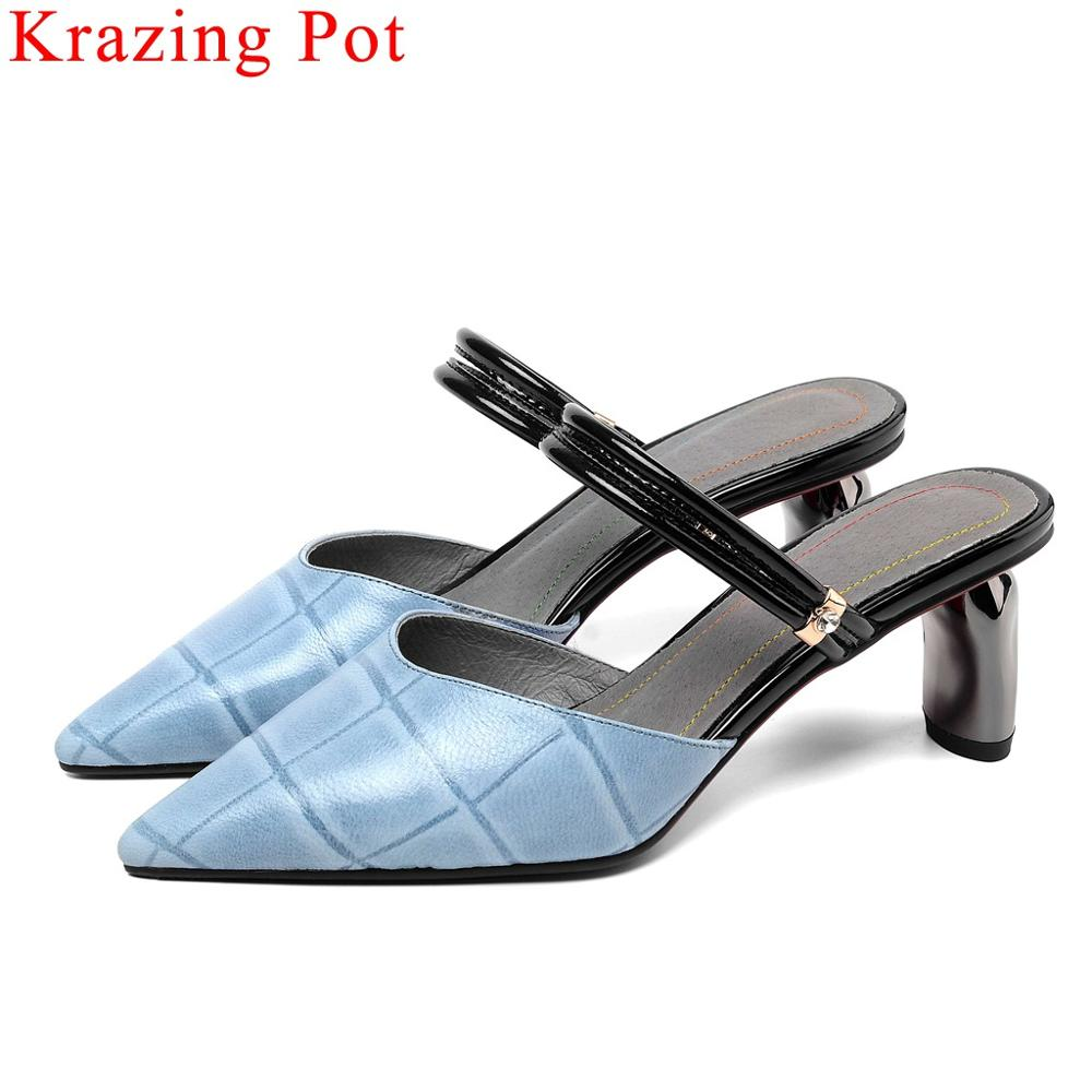 Krazing Pot office lady metal high heels pointed toe women pumps slip on full grain leather mules large size daily shoes L1f3Krazing Pot office lady metal high heels pointed toe women pumps slip on full grain leather mules large size daily shoes L1f3