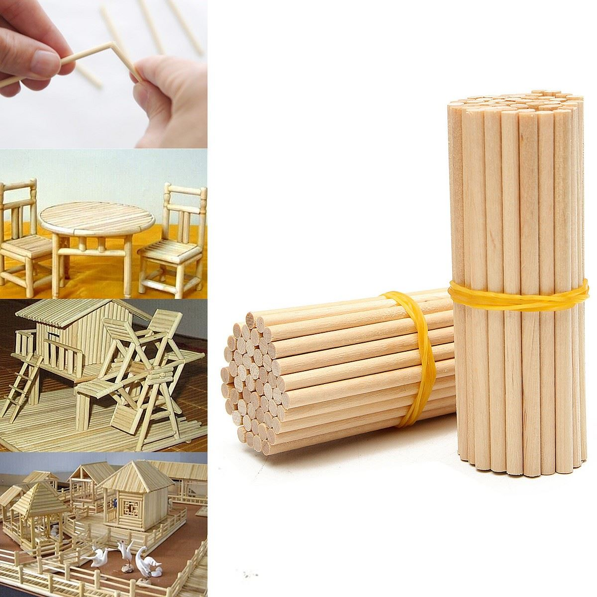 Wooden Round Lollipop Lolly Sticks 100Pcs/Pack 80Mm Cake Dowels For