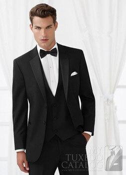 2017 New Tailored Smoking Black Suit Men Slim Fit 3 Piece Groom Wedding Suits Custom Blazer Prom Tuxedo Ternos Jacket+Pant +Vest