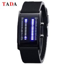 Tada Brand Unique Binary Led Watch Fashion Bridge Rectangle Shape Blue Light Silicone Men Soprts Digital Watch 2018 montre homme