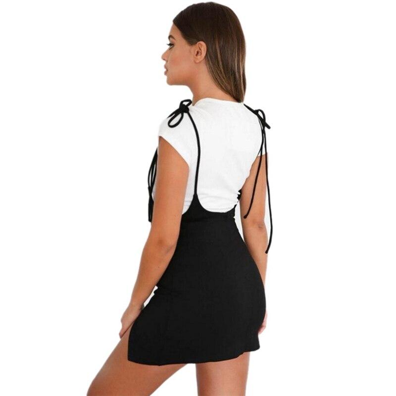 Black Women  Dress With Shoulder Straps Package Hip Under Split Slim Suspender Dress