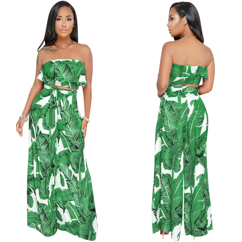 100% Wahr Tropical Druck Zwei Stück Set Frauen Rüschen Liebsten Crop Top Und Breite Bein Hose Anzüge Boho Sommer Casual Strand 2 Stück Outfits