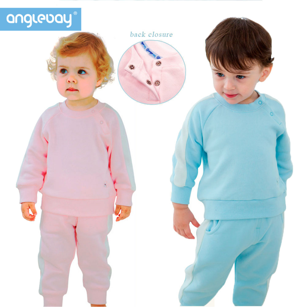 Anglebay 100% Cotton Jersey Baby Boy Girls Two Piece Knit Set Winter Unisex Baby Infant Long Sleeve Pullover Sweatshirt Pant Set zutano unisex baby candy stripe pant