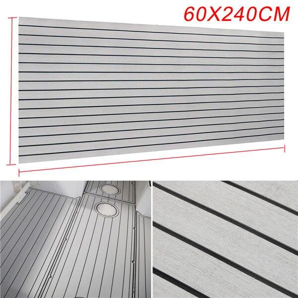 Self-Adhesive 600x2400x5mm Marine Flooring Faux Teak Grey With Black Lines EVA Foam
