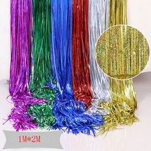 2M/4M Party Backdrop Metallic Foil Tinsel laser Curtain Birthday  Decoration Wedding Photography Photo Background