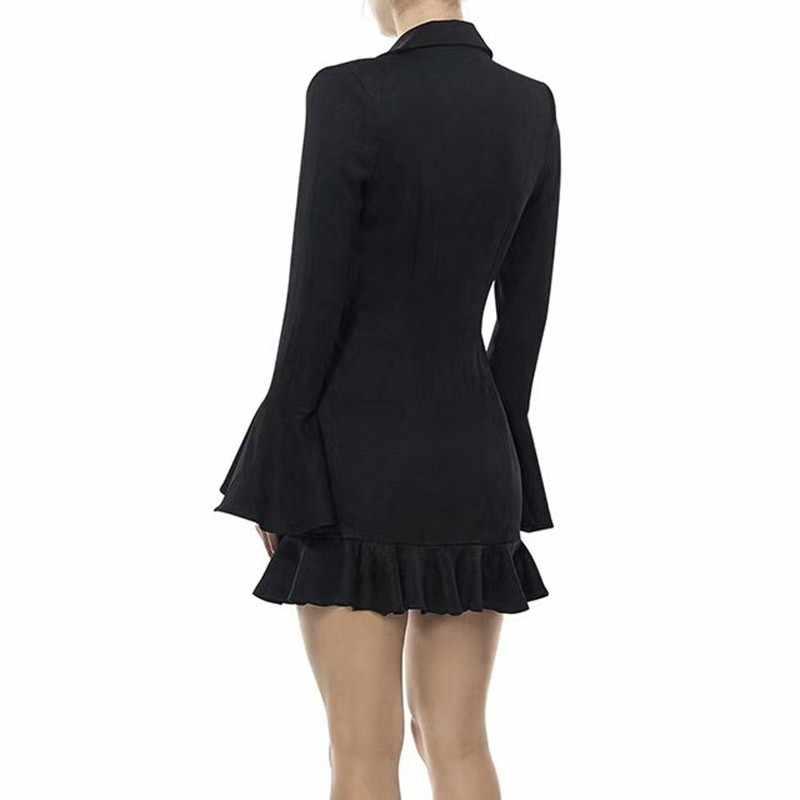 TWOTWINSTYLE оборками женское платье Женский V образным вырезом с расклешенными рукавами Высокая талия двубортный Блейзер платья для женщин Модная элегантная одежда