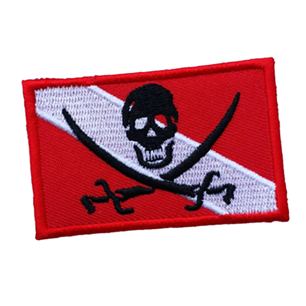 Diver Down Flag Patch Embroidered Iron On Scuba Diving Skull Pirate Emblem Souvenir
