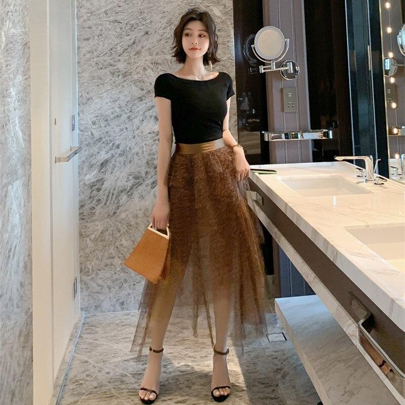 2 pièces ensemble été 2019 femmes costume noir O cou chemise hauts Blouse et léopard gaze jupes Sexy partie haut court et jupe ensembles
