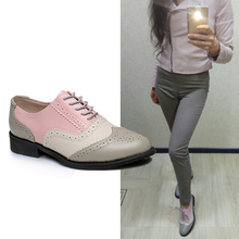 New 2015 hot sale ballerina flats shoes women oxford genuine leather  moccasins lace-up sneakers free shipping