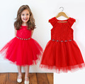 2016 New Arrival Children Party Ceremonies Gowns Dresses Birthday Princess Girls Dress Red Color
