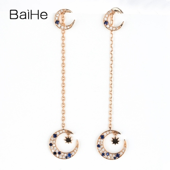 BAIHE Solid 14K Rose Gold 0.20CT H/SI Natural Diamonds Natural sapphirs Trendy Fine Jewelry Elegant Gift Moon Unique Earrings