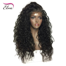Elva Hair 360 Lace Frontal Wigs With Baby Hair 250% Density Water Wave Brazilian Remy Hair Pre Plucked 100% Human Hair Wig
