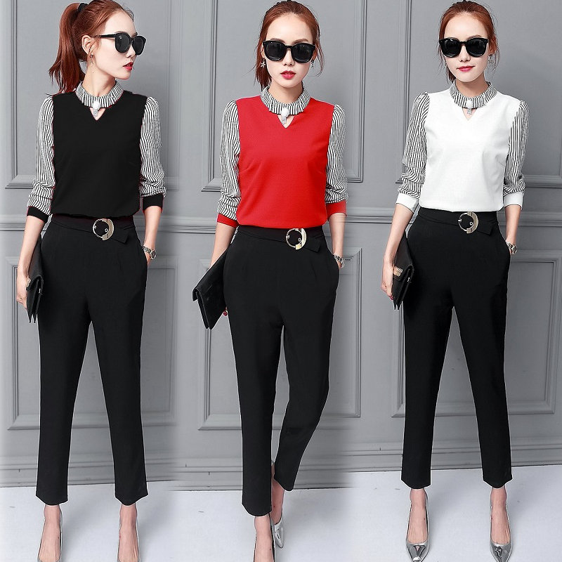 2017 New Spring Korean Fashion Suit Chiffon Stripe Shirt Black Pants Two Pcs Clothing Set Slim Outfit Business Clothes Size S-xl To Make One Feel At Ease And Energetic