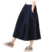 2dafa3e5be1 Vintage plissé velours côtelé jupes femmes élastique taille haute  décontractée épais hiver jupe automne femme couleur unie jupes.