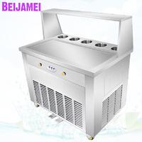 BEIJAMEI Quick Cooling Thailand Flat Pan Fried Ice making Roll 110V 220V Commercial Thai Ice Cream Rolls Machine