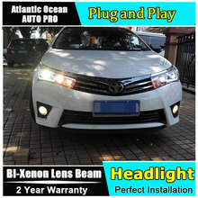 AUTO.PRO For corolla headlights 2014-15 bi xenon lens HID KIT parking LED guide DRL corolla headlamps car styling