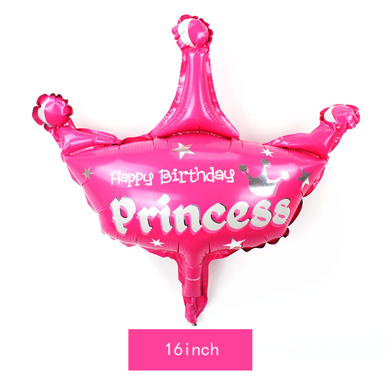 1pc Large Pink Blue Helium Ballon Prince Princess Crown Foil Balloons Happy baby Birthday Party wedding decoration adult globos in Ballons Accessories from Home Garden