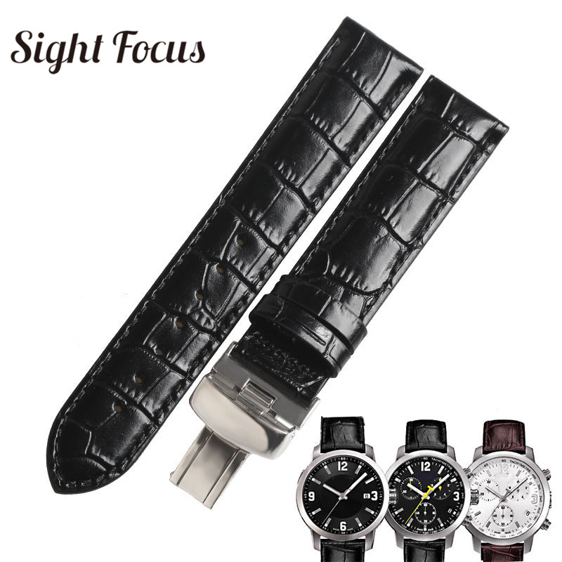 23mm Calf Leather Watch Band sBracelet for <font><b>PRC200</b></font> <font><b>Straps</b></font> T055 Watches Black Brown Calfskin Cowhide Leather Belts Masculino Mujer image