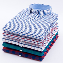 Hot Sale 100% Cotton Oxford Casual Soft Fit Plaid Long Sleeve Dress Shirt Men Spring 2018 Retro Style Wear Shirts Blouse Soft