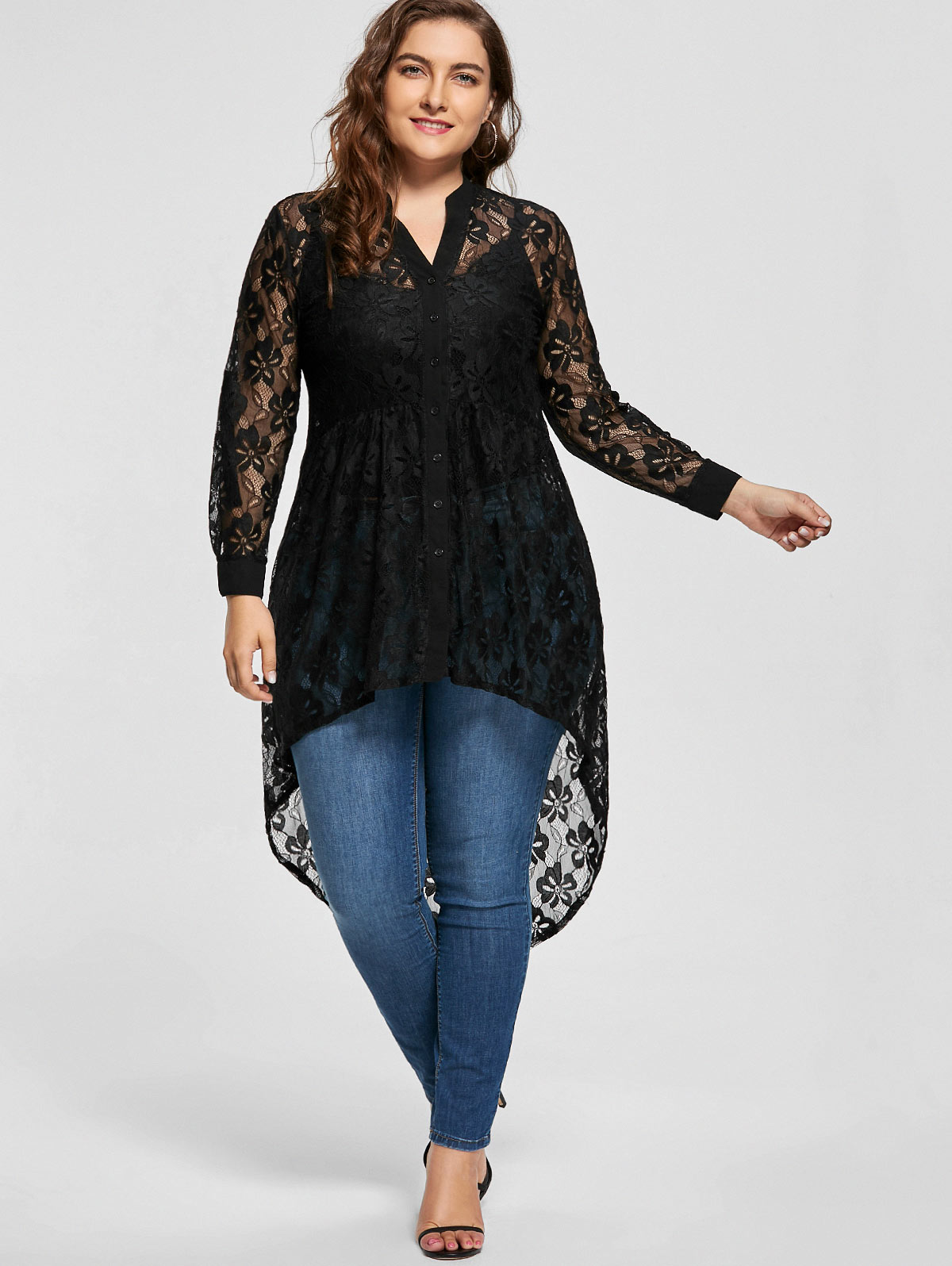 Gamiss Women Plus Size Blouse Spring Autumn Long Sleeve High Low Lace Shirts See Through Button Up Ladies Big Size Female Tops Блузка