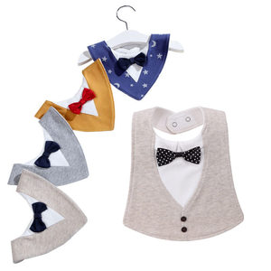 Bib Baby Bibs Baberos Babador Bavoir Slabber Waterproof Cotton Stripe Printing Infant Cloths Bow-tie Bandana 0-3 Years(China)