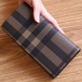 Women Genuine Leather Wallets Designer Plaid Clutches Purse Female Card Holder Coin Purse Fashion Long  Wallet Carteras Mujer