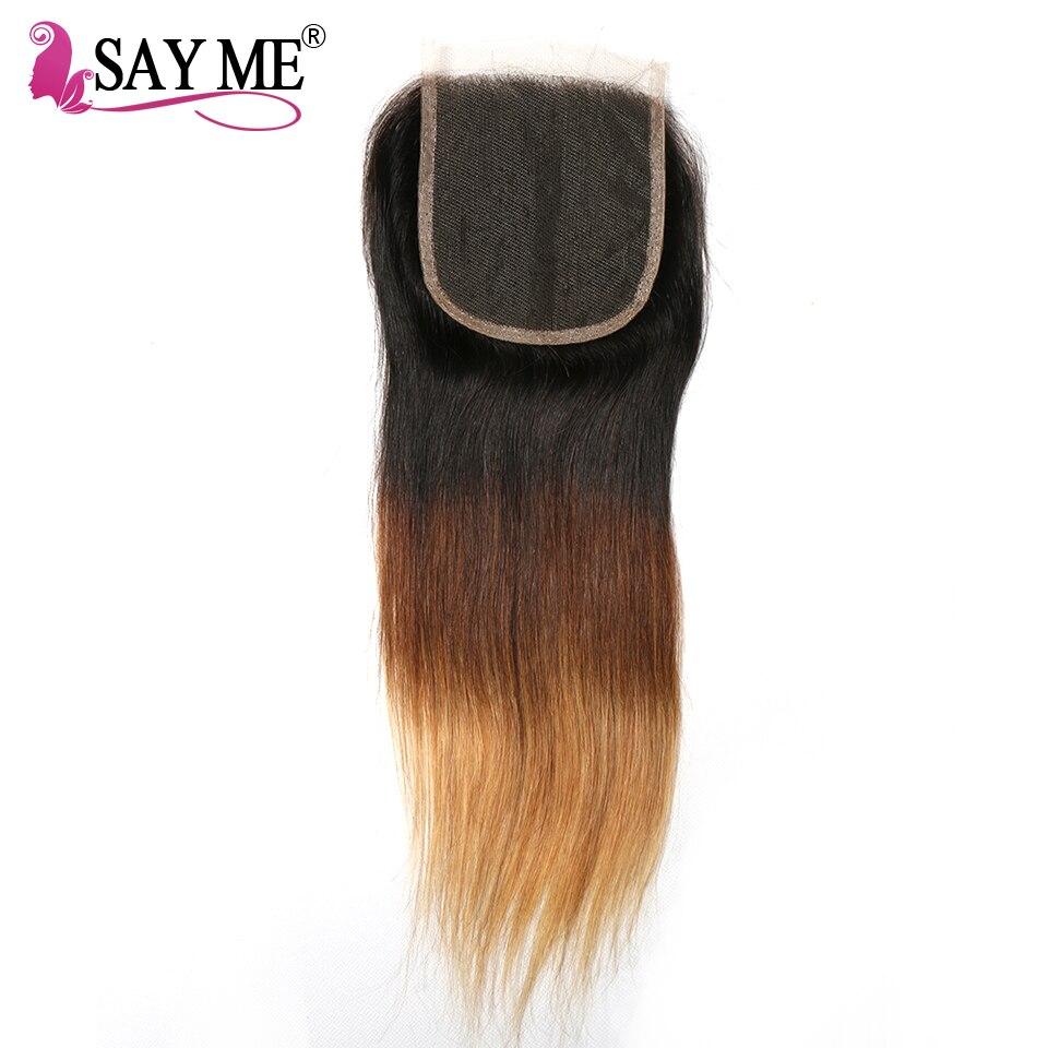 Говорят мне Ombre бразильский прямо закрытия шнурка T1b/4/27 блондинка бесплатная часть 4x4 Ombre 3 три тона не Реми натуральные волосы закрытие