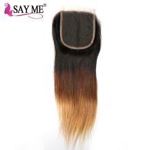 SAY ME Ombre Brazilian Straight Lace Closure T1b/4/27 Blonde Free Part 4×4 Ombre 3 Three Tone Non Remy Human Hair Closures