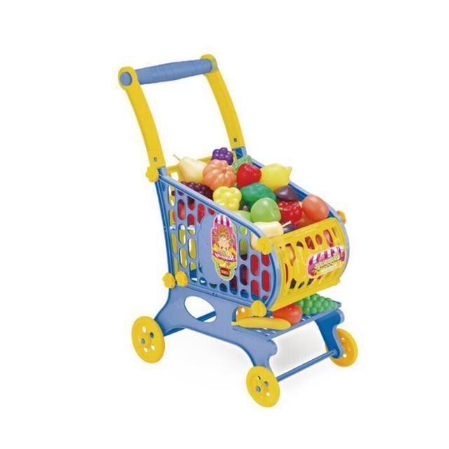 b3c7254e6 Diy تجميع طفل عربة الطفل ووكر عربة الطعام البقالة مسرحية لعبة عربة التسوق  (الأزرق)