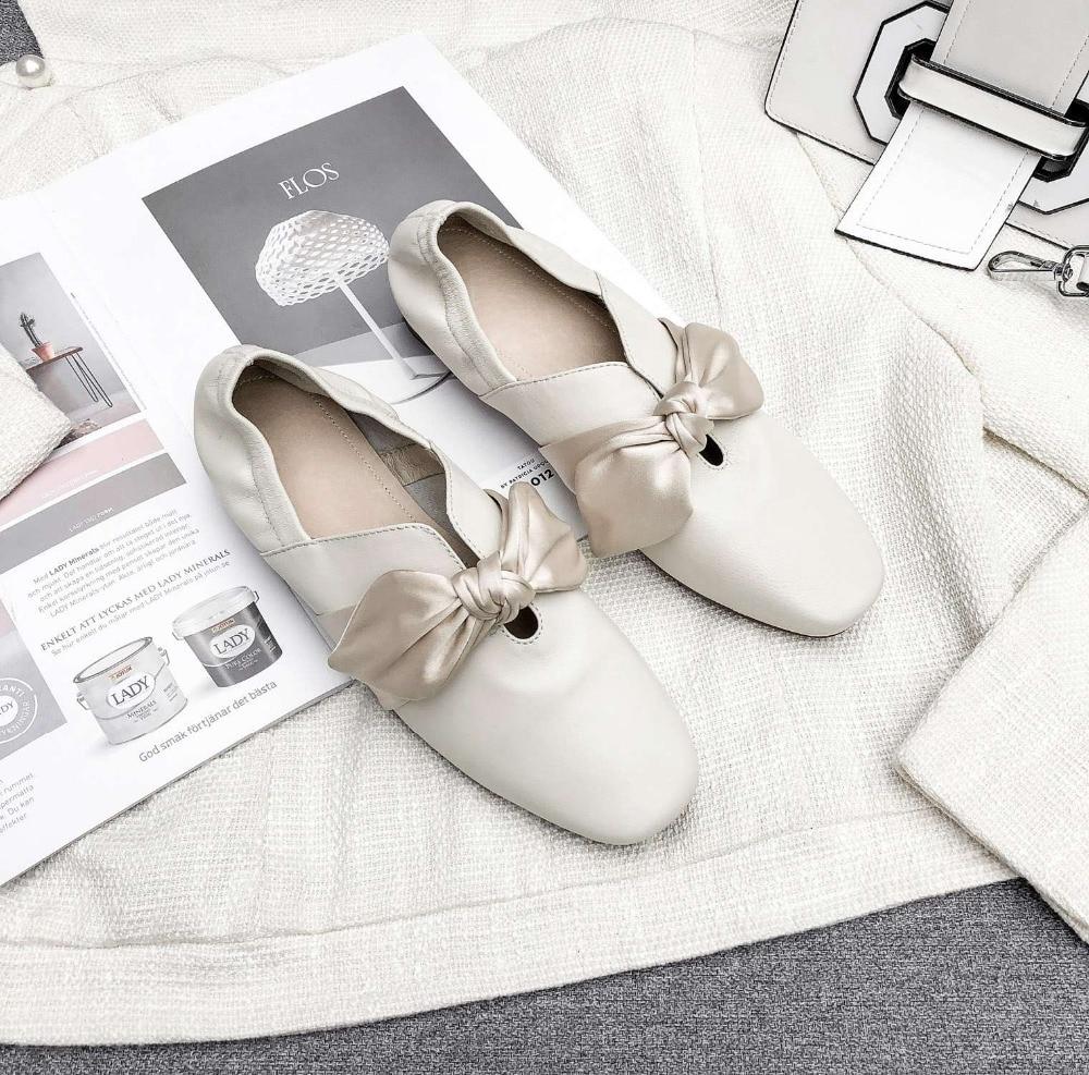 Krazing olla mujer nueva moda cosidos a mano zapatos de ballet de cuero Arco Nudo de tacón bajo cuadrado del dedo del pie resbalón en zapatos de manga de hadas L05-in Zapatos de tacón de mujer from zapatos    2