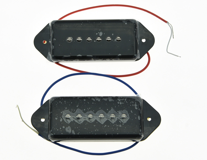 Black P90 High Power Sound Neck&Bridge Dogear Pickup Soapbar Pickups Set kaish black p90 high power sound neck