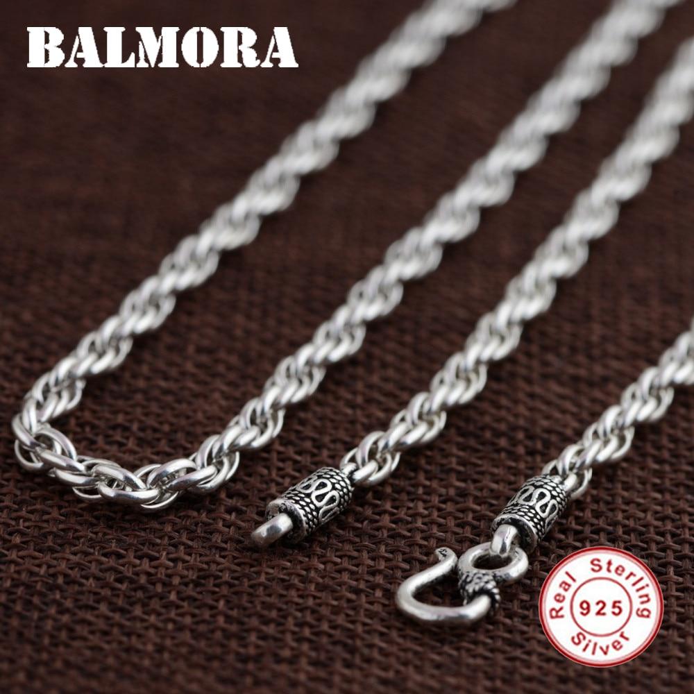 BALMORA BALMORA 100 Real 925 Sterling Silver Jewelry Retro Chains Necklaces for Men Male Pendant Accessories