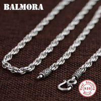 BALMORA 100 Pure 925 Sterling Silver Jewelry Retro Chains Necklaces For Men Male Pendant Accessories Retail