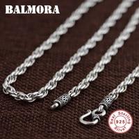 BALMORA BALMORA 100% Real 925 Sterling Silver Jewelry Retro Chains Necklaces for Men Male Pendant Accessories Bijoux SZ0157