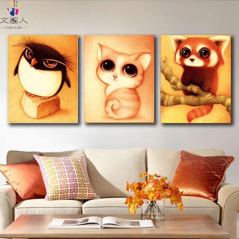 DIY colorings pictures by numbers with colors Retro Big eye animal Toucan picture drawing painting by numbers framed Home
