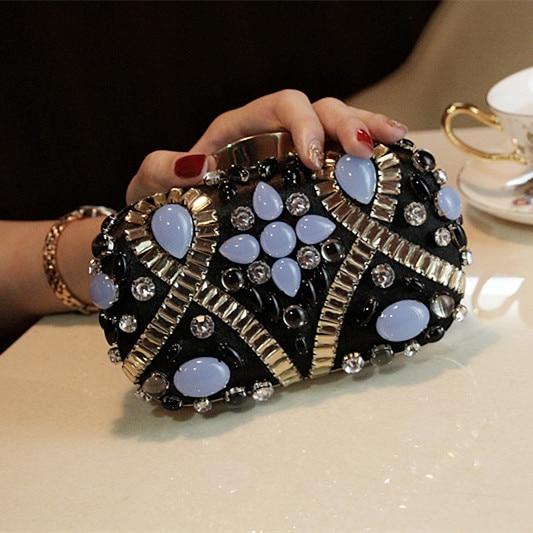 NEW black women evening bags luxury shoulder bags blue rhinestone bride diamonds clutch bag wedding purse party bags