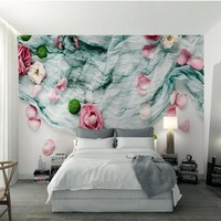 Custom Large Fresco 3d Forest System Nordic Style Textile Cloth Roses Dried Flowers Background Wall Nonwovens