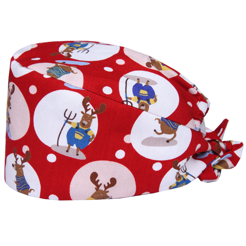 Japanese Lucky Cat Nurse Surgical Caps Veterinary Scrub Cap Medical Doctor Working Hat Female Male Surgeon Hat 100% Cotton Hats Work Wear & Uniforms