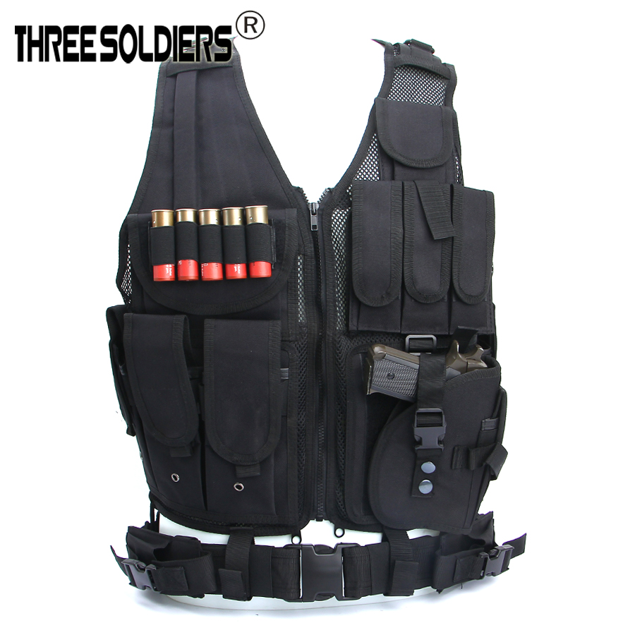 Breathable Adjustable Tactical Assault Vest Military Airsoft Carrier Molle Mesh Vest Multi-functional Training Combat Waistcoat
