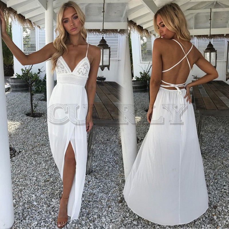 Boho Women Ladies Fashion Sexy Summer Beach Dress Lace Floral Solid White Sleeveless Deep V Neck High Waist Ankle Length Dress in Dresses from Women 39 s Clothing