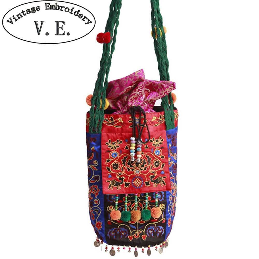Vintage Embroidery Women Shoulder Bag Original National Embroidered Messenger Bags Fashion Boho Canvas Travel Bag free shipping vintage hmong tribal ethnic thai indian boho shoulder bag message bag pu leather handmade embroidery tapestry 1018