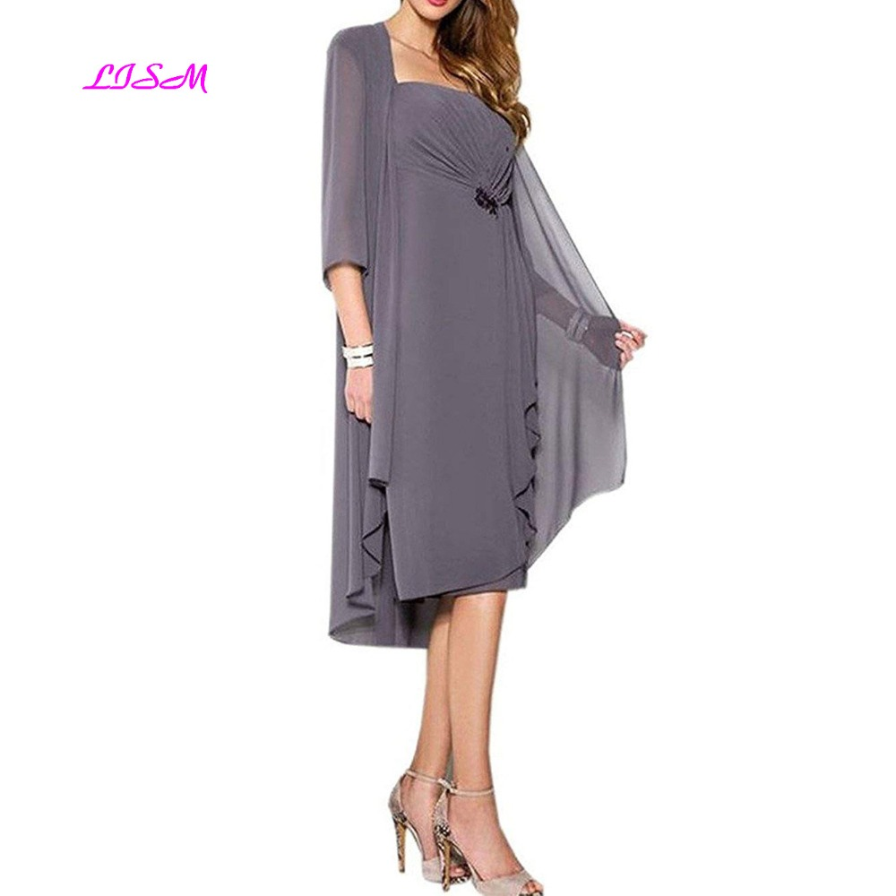 LISM Chiffon Knee Length Dresses with Jacket