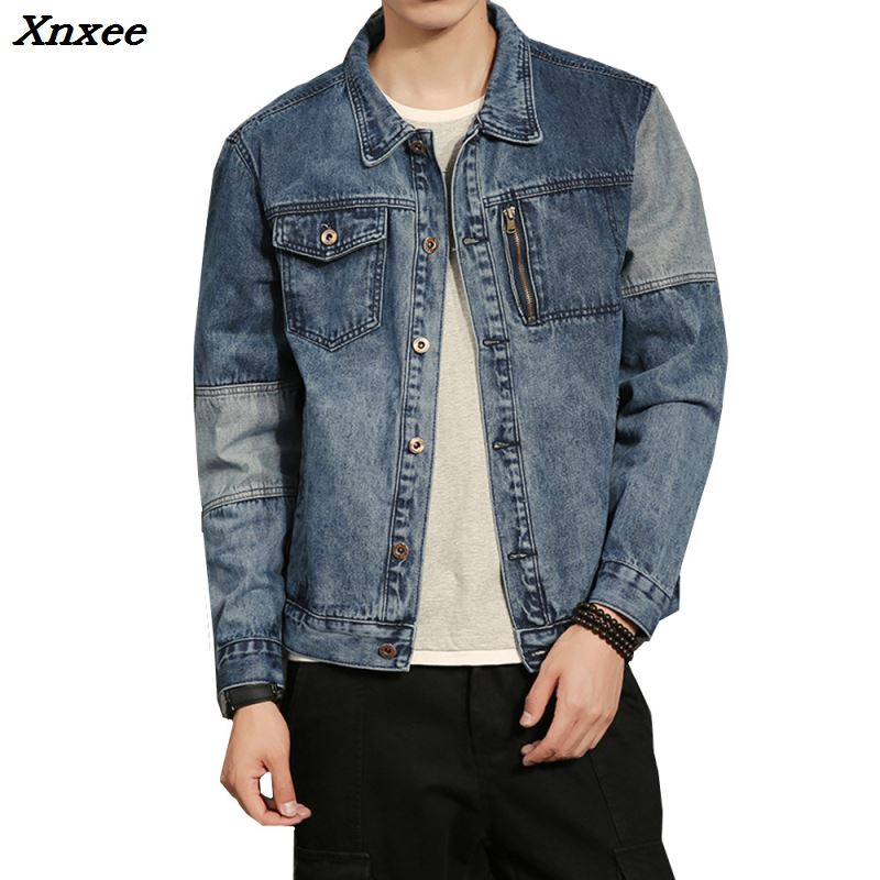 Men Retro Fashion Washed Denim Jacket Hip Hop Spring Autumn Splice Design Male Casual Jean Coat Outerwear Plus Size M 5XL Xnxee in Jackets from Men 39 s Clothing