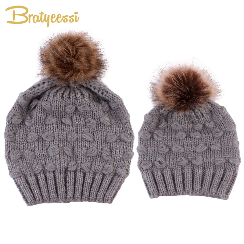 6a7a9a22b8af17 New Knitted Baby Hat Pompom Mom Baby Winter Hat for Boy Girls Kids Cap Baby  Accessories Elastic Soft Toddler Beanie Hats | Bella's Baby World