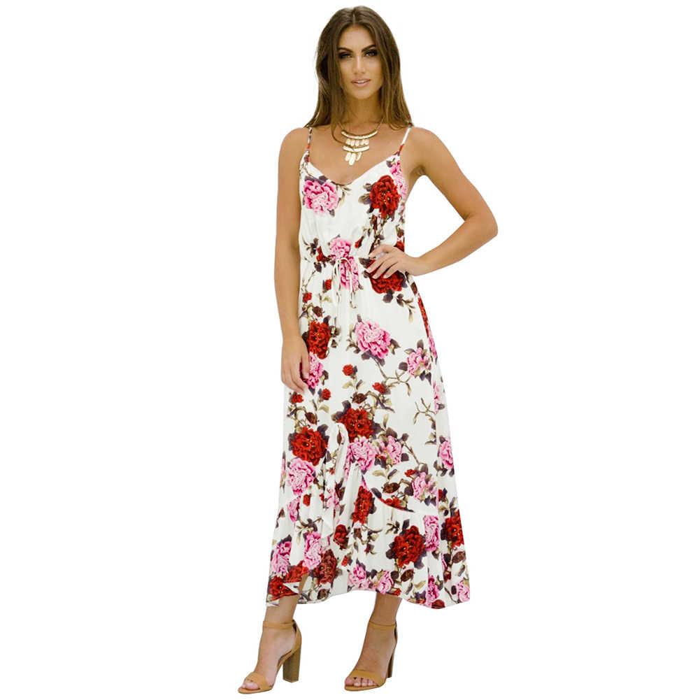 Anself женское пикантное облегающее платье с цветочным принтом на тонких бретельках без рукавов с завязками асимметричное платье с высоким воротом Макси 2019