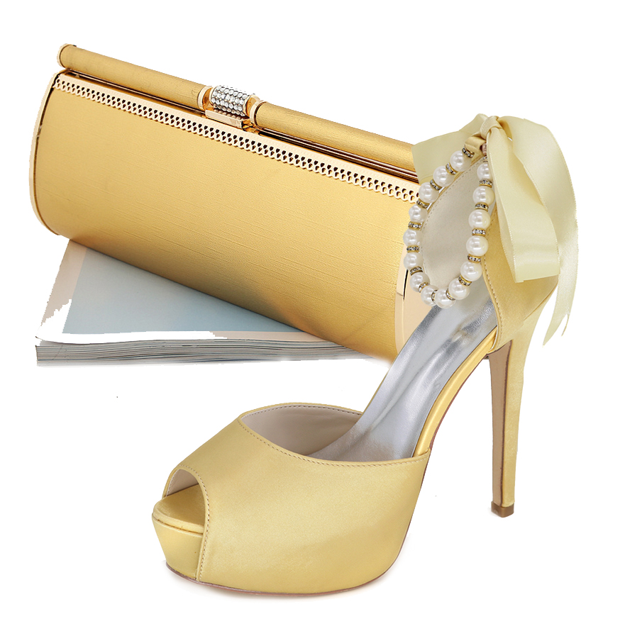 Elegant Gold satin dress shoes high heel peep open toe ankle strap ribbon pumps with matching gold hard clutch bag party outfit