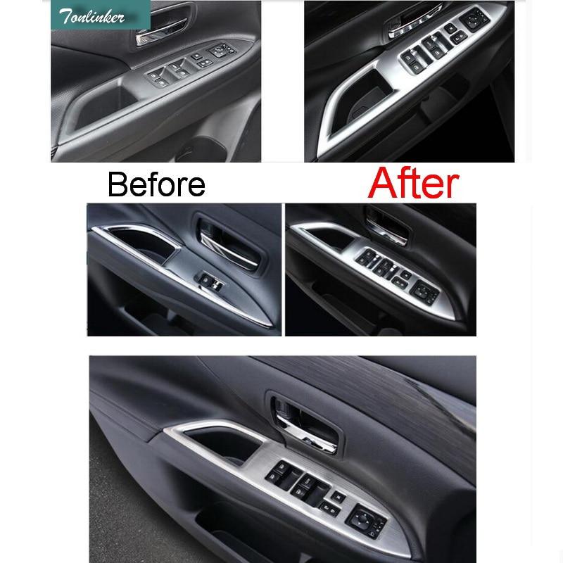 Tonlinker 4 piezas DIY Car Styling ABS The Windows Left Botton Panel - Accesorios de interior de coche
