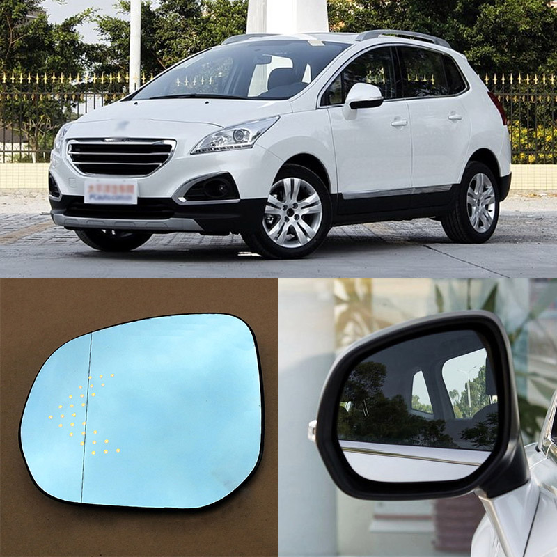 Brand New Car Rearview Mirror Blue Glasses LED Turning Signal Light with Heating For Peugeot 3008 for volkswagen sagitar brand new car rearview mirror blue glasses led turning signal light with heating