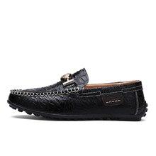 Новая мужская Крокодил обувь Мужская Натуральная кожа Лоферы Мода Slip-On Ман обувь нескользящие квартиры и оксфорды Size9.5